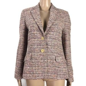 Zanella Size 8 Tweed Blazer Pink Made In Italy